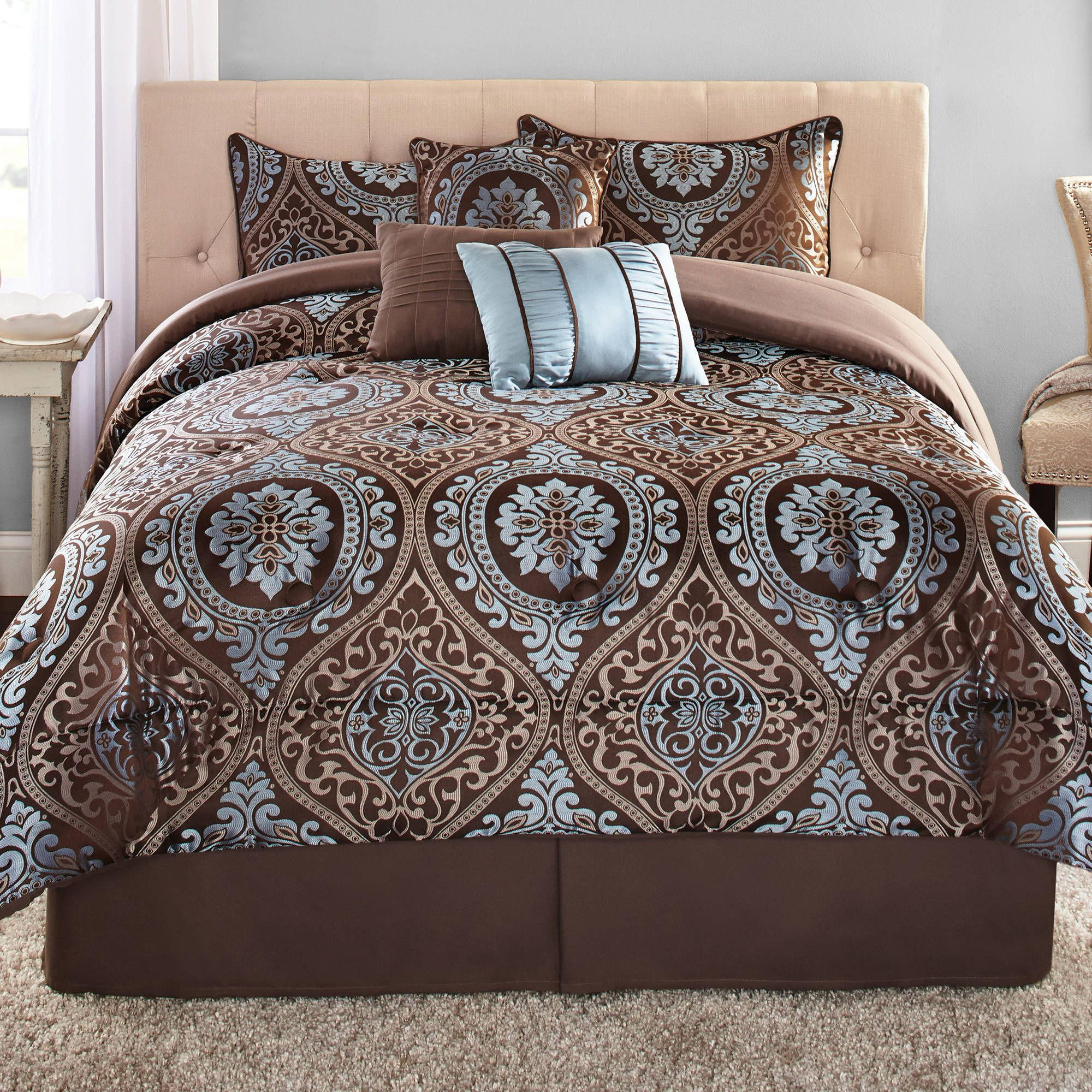 Mainstays Victoria Jacquard Brown 7 Piece Comforter Set King Walmart Com Jacquard Bedding Comforter Sets Bed Comforters
