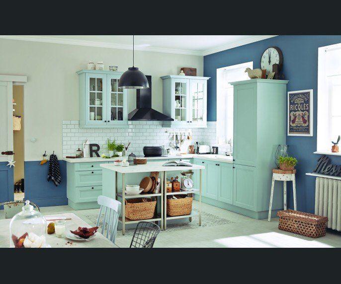 Cuisine Blancbeigenaturel Bleu INSPIRE Charme Romantique - Decoration baroque romantique pour idees de deco de cuisine