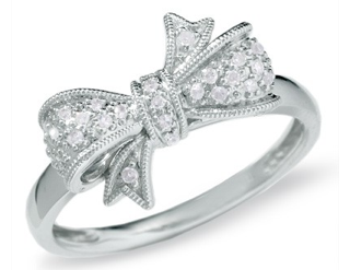 0.01 CTW Round Diamond Ribbon Bow Dainty Ring in White Gold
