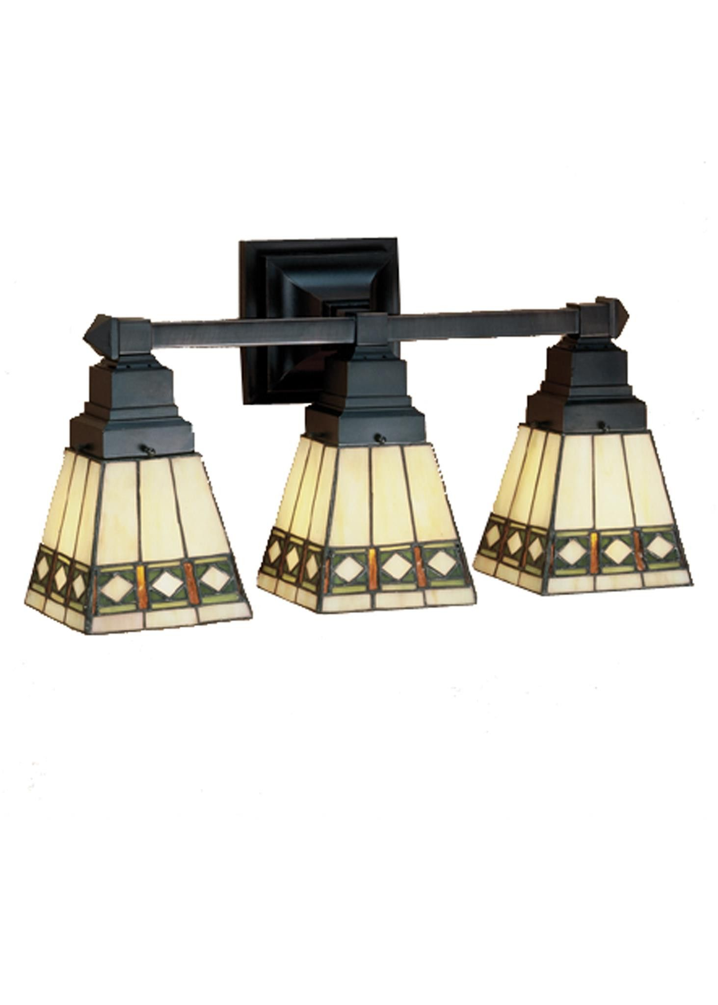 Inch W Diamond Mission 3 Lt Vanity Light Cleanses Shape and