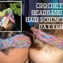 Curly Q Headband and Hair Scrunchies to Crochet #crochetscrunchies
