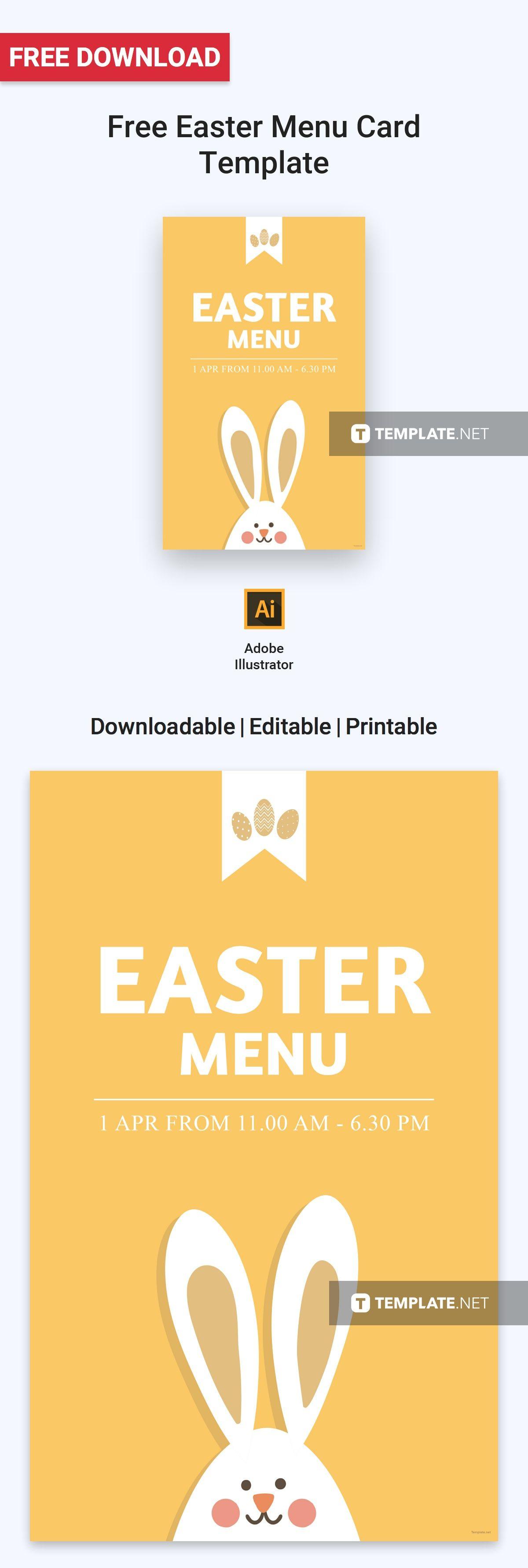 free easter menu card menu cards card templates and menu