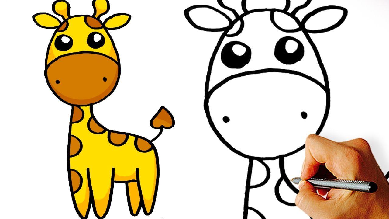 Very Easy! How to Draw Cute Cartoon Giraffe. Art for Kids ...
