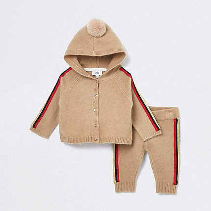 478c42287 Baby beige side stripe cardigan outfit - Baby Girls Outfits - Mini ...