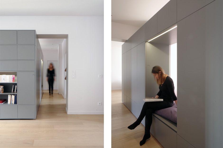 Renovation D Un Appartement Contemporain A Lyon Avec Un Meuble Central Sur Mesure Meuble D Entree Appartement Contemporain Meuble Entree Meuble De Separation