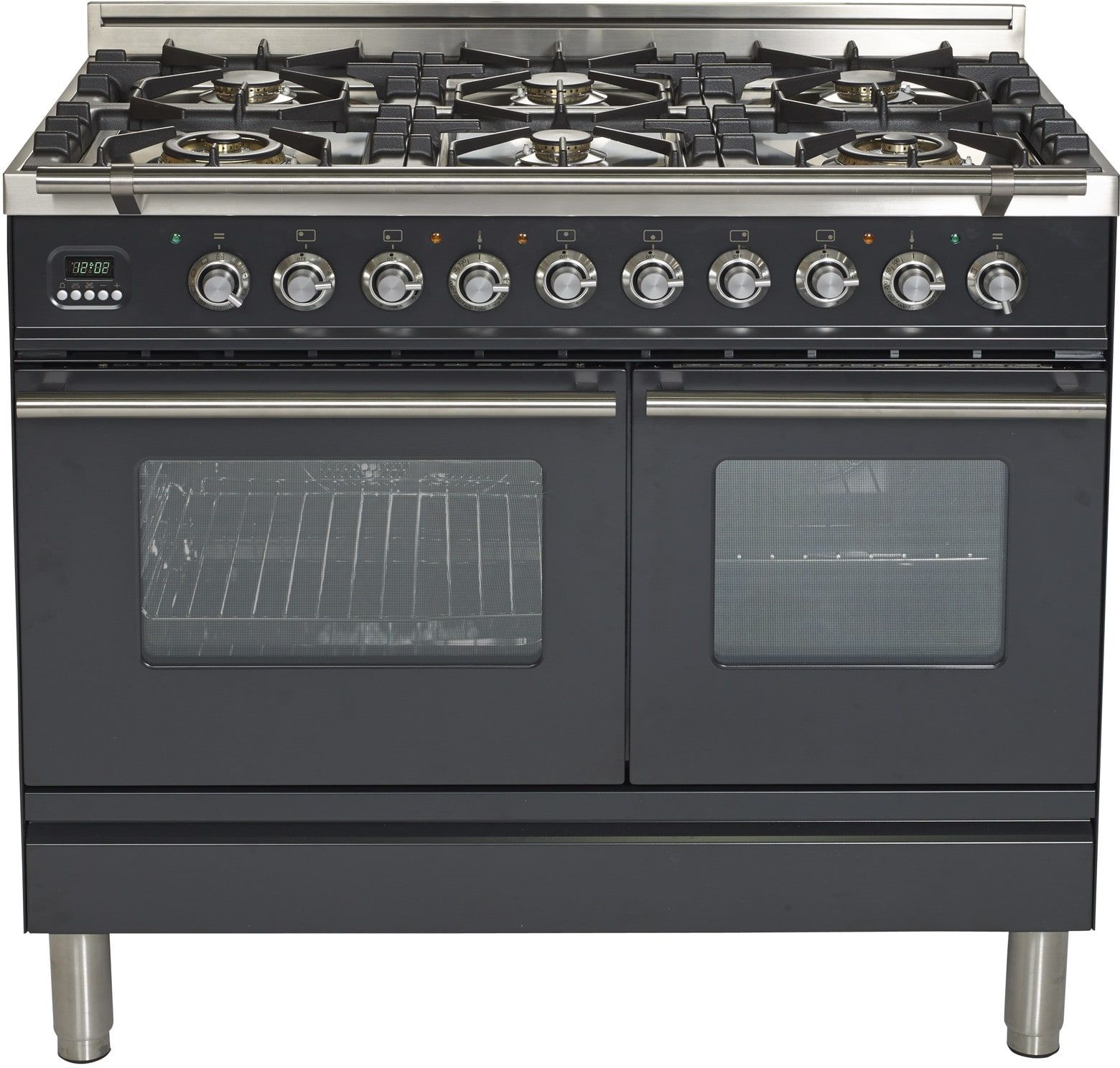 Ilve Updw1006dmpm 40 Inch Dual Fuel Double Oven Range With Digital Clock Timer Electronic Ignition Warmi Double Oven Range Gas Range Double Oven Double Oven