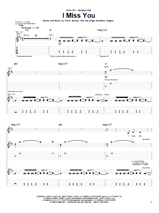 Drum Chord For I Miss You By Blink 182 Ba Dum Tsss