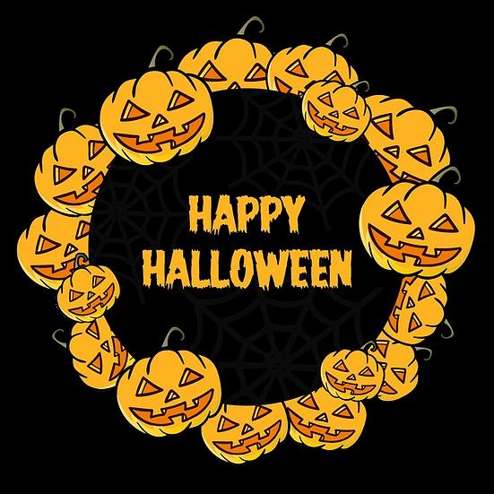 Happy Halloween Pumpkin Wreath Printables Png Image Editable Downloadable Upcrafts Design Happy Halloween Halloween Pumpkins Halloween Vector
