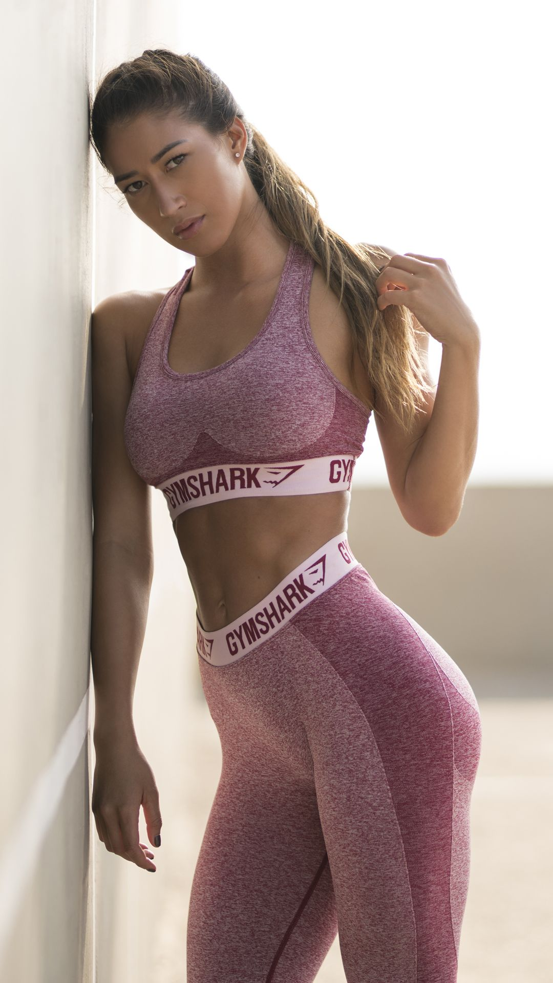 01dc97243b Karina Elle styling Flex leggings and Flex sports bra in beet marl chalk  pink.