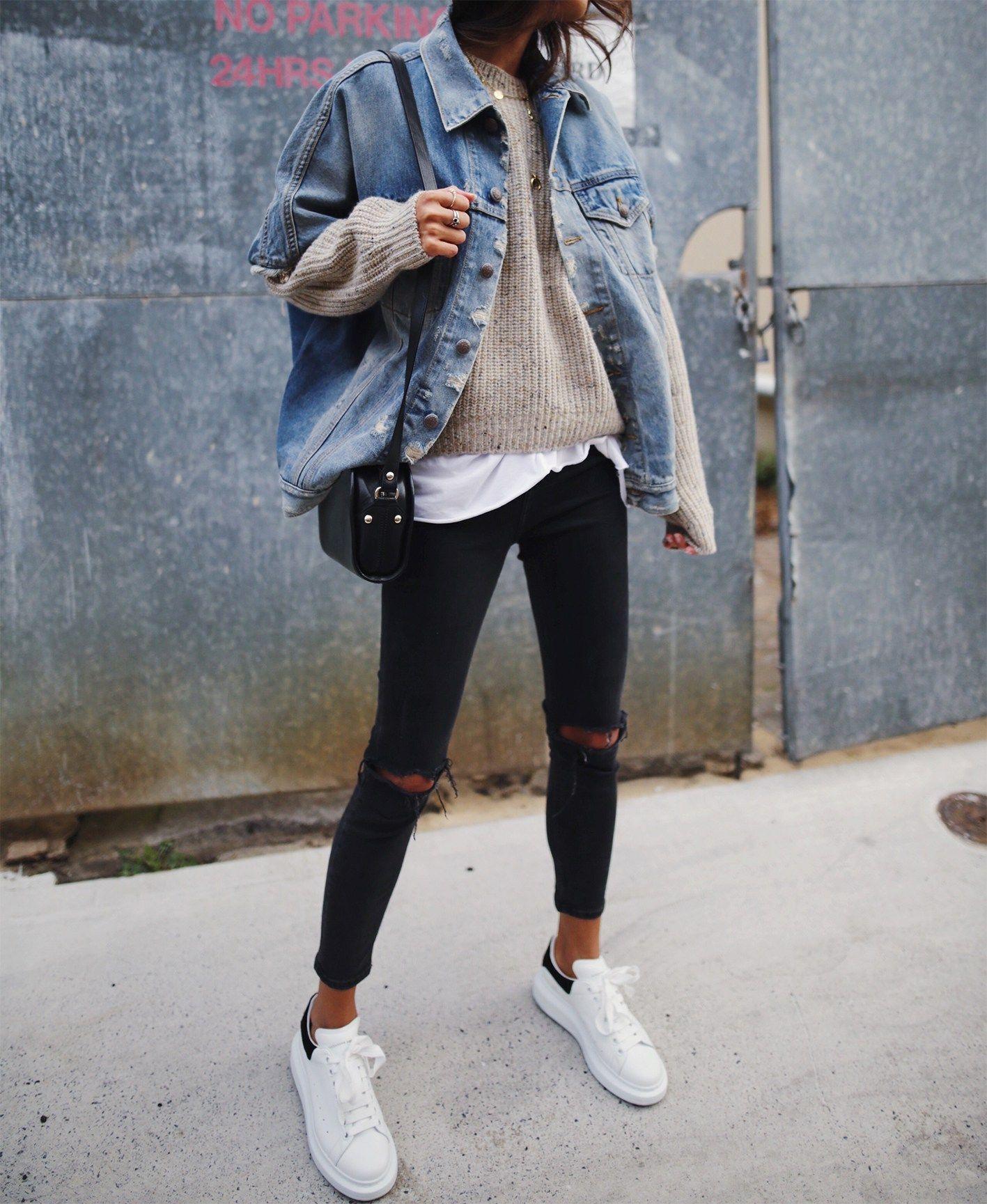 95f494e1b Jean jacket Black jeans White sneakers White shirt Beige shirt ...