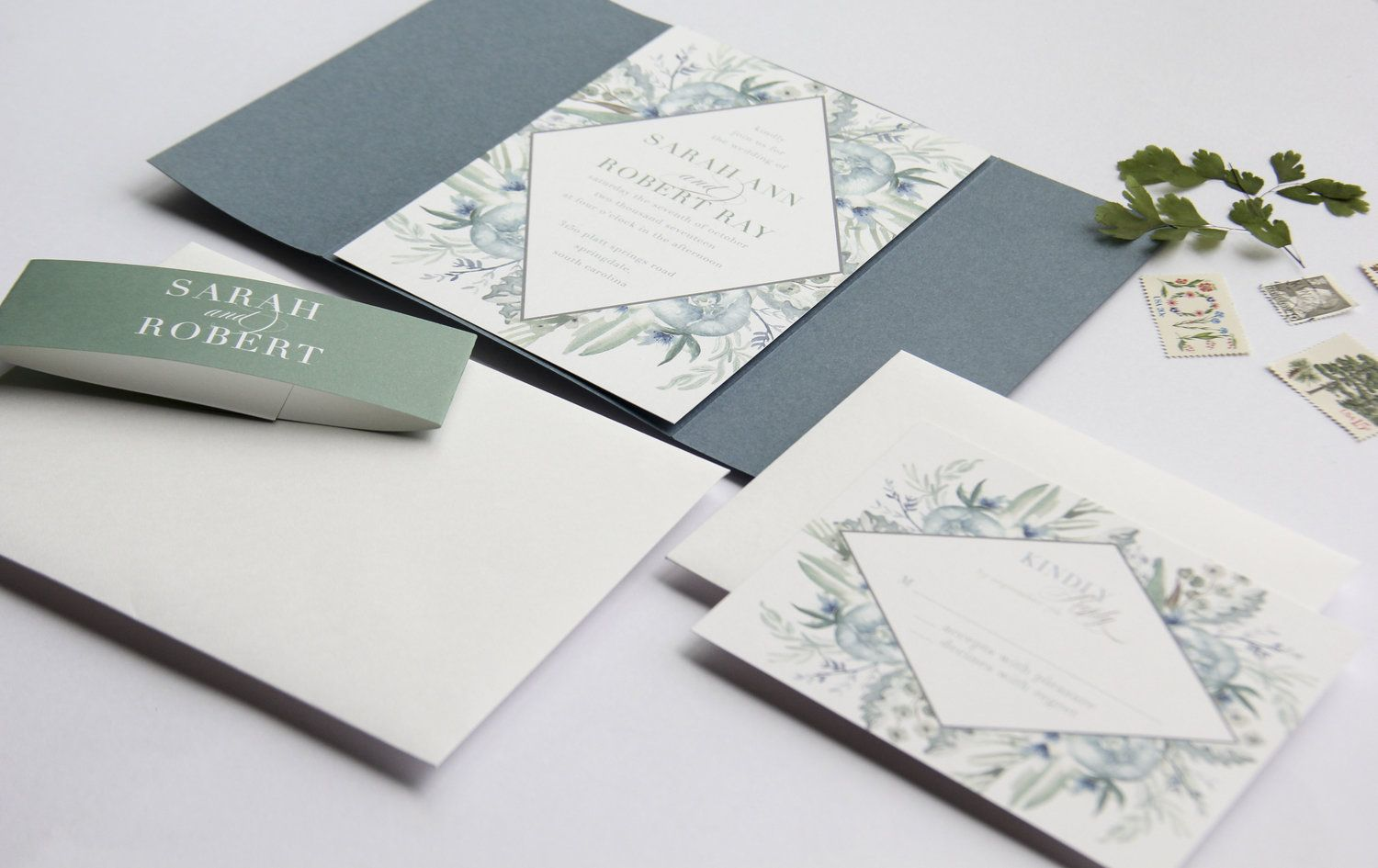 Invitation Reveal French Blue Greenery Dusty Blue Weddings