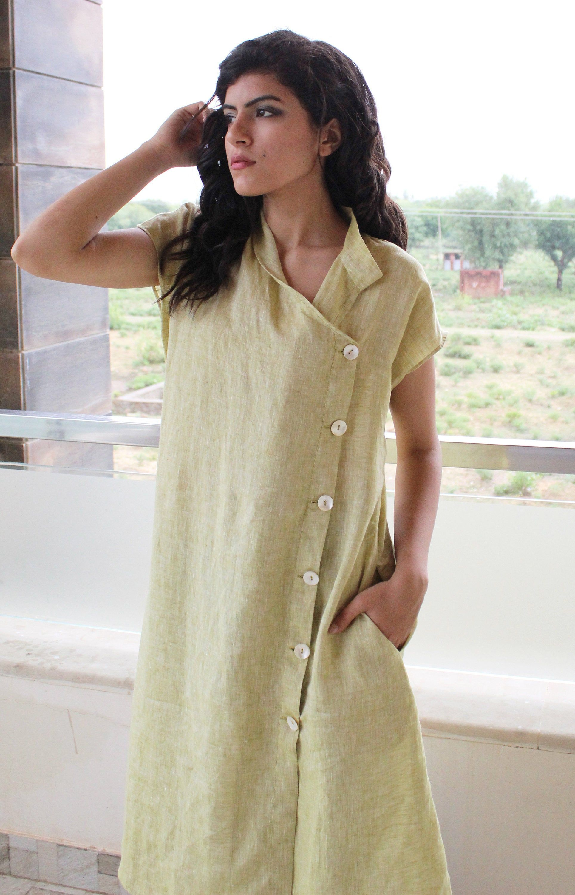 Linen Dress Organic Linen Dress Linen Short Sleeve Dress Etsy In 2020 Linen Dress Cowl Neck Dress Linen Dresses