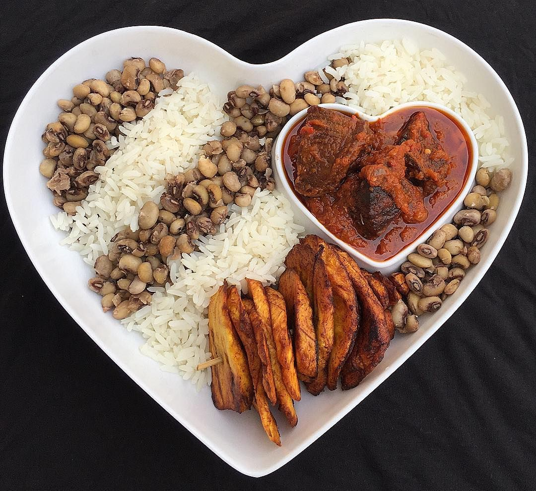 Rice and Beans with Stew Haitian food recipes, Nigerian
