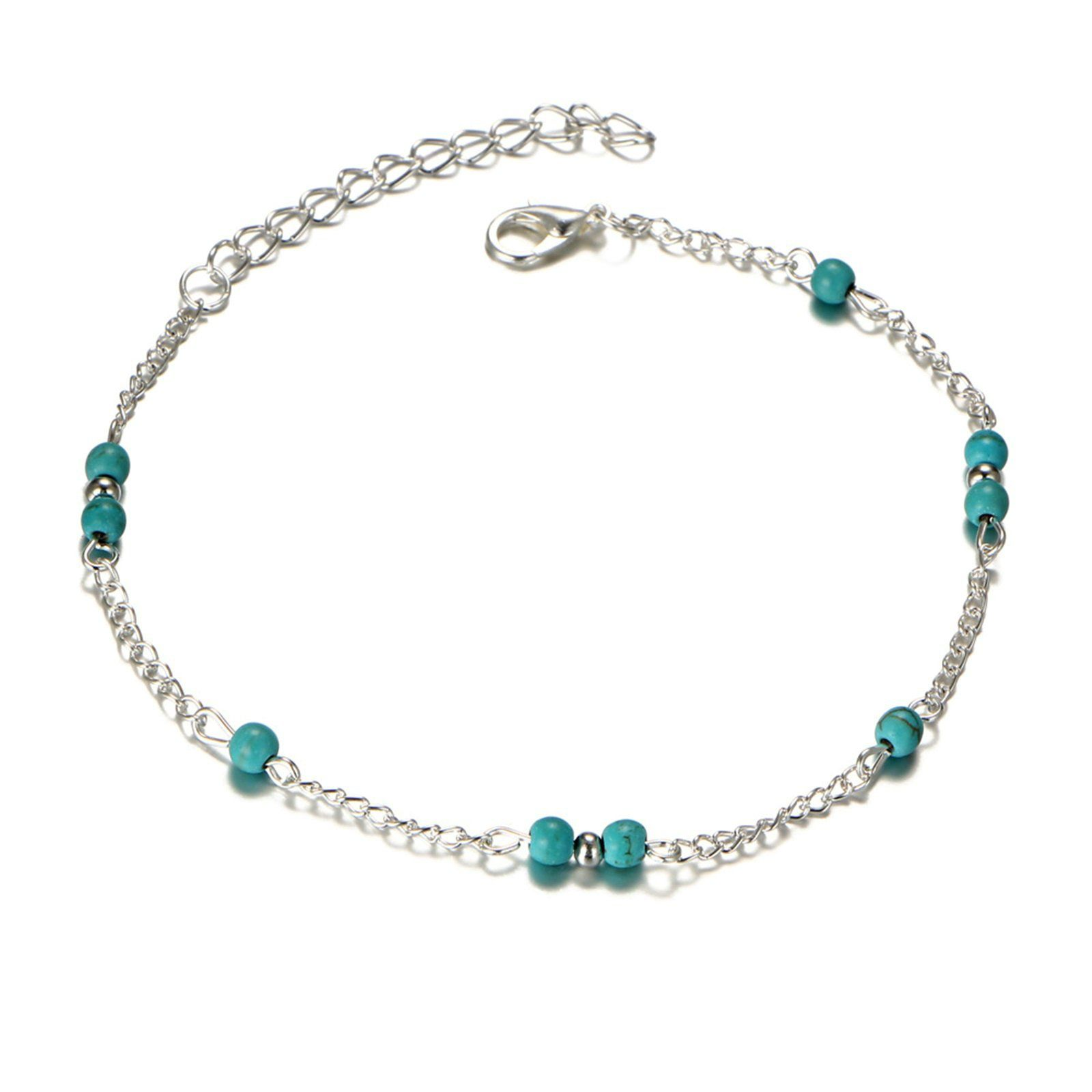 Amdxd Women Silver Plated Anklet Beaded Turquoise Silver