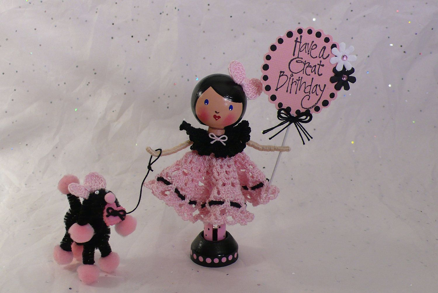 Paris Poodle Birthday Party - Clothespin Doll