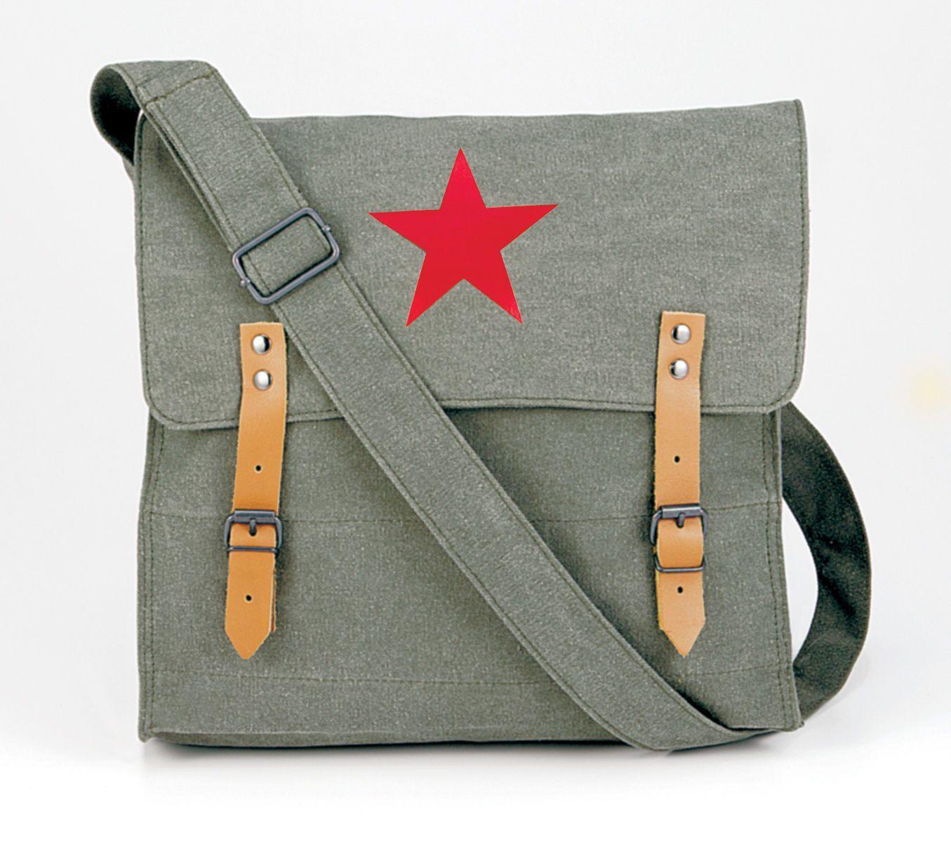 Vintage Canvas Messenger Bags Stylish Medic Shoulder W Leather Straps