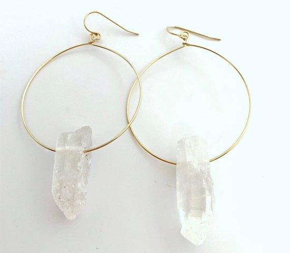 Clear Quartz Crystal Earrings Crystal Hoop Earrings Boho Hoop Earrings Raw Crystal Hoop Earrings Earrings for Women Gift for her