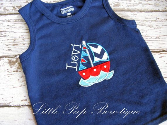 Boys nautical t shirt tank top sailboat embroidered applique