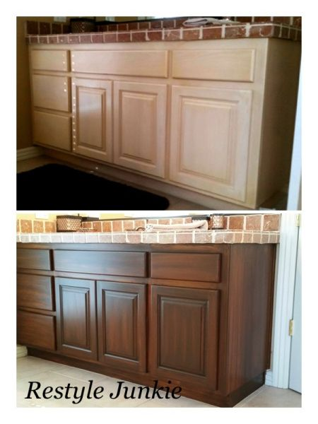 before and after restyle of light pickled oak bathroom vanity cabinets were transformed with general - Bathroom Cabinets Before And After
