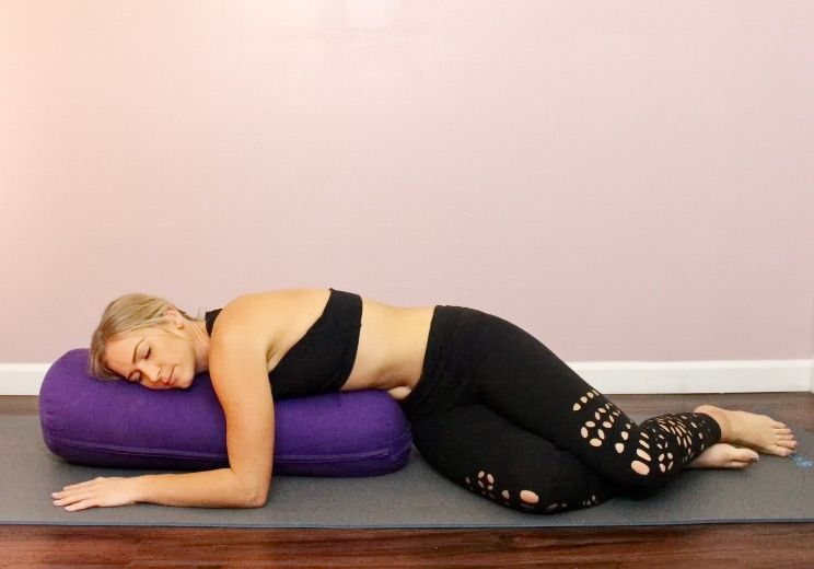 Melt Into This Restorative Yoga Routine To Lower Cortisol Slow Aging Restorative Yoga Poses Restorative Yoga Yoga Routine