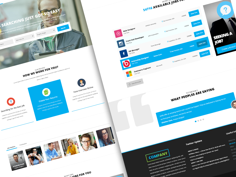 p>Here is Job Search Listing Website Template PSD for Free ...