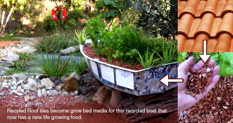 Use recycled terracotta roof tiles crushed as growing for Aquaponics pond design