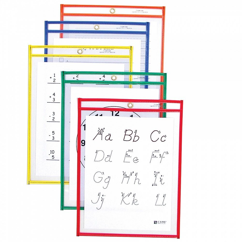 CLine Products 40610 Reusable Dry Erase Pockets, Assorted
