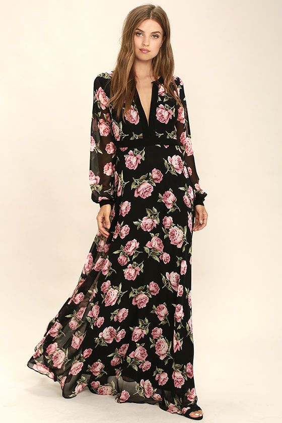 749d63b56 The Heritage Rose Black Floral Print Maxi Dress is sure to make any evening  extra bright! Woven poly with a stunning black