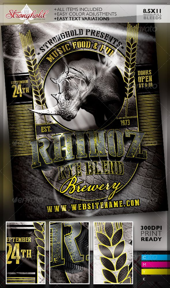Rhino Rye Brewery Flyer Template  Flyer Template Template And