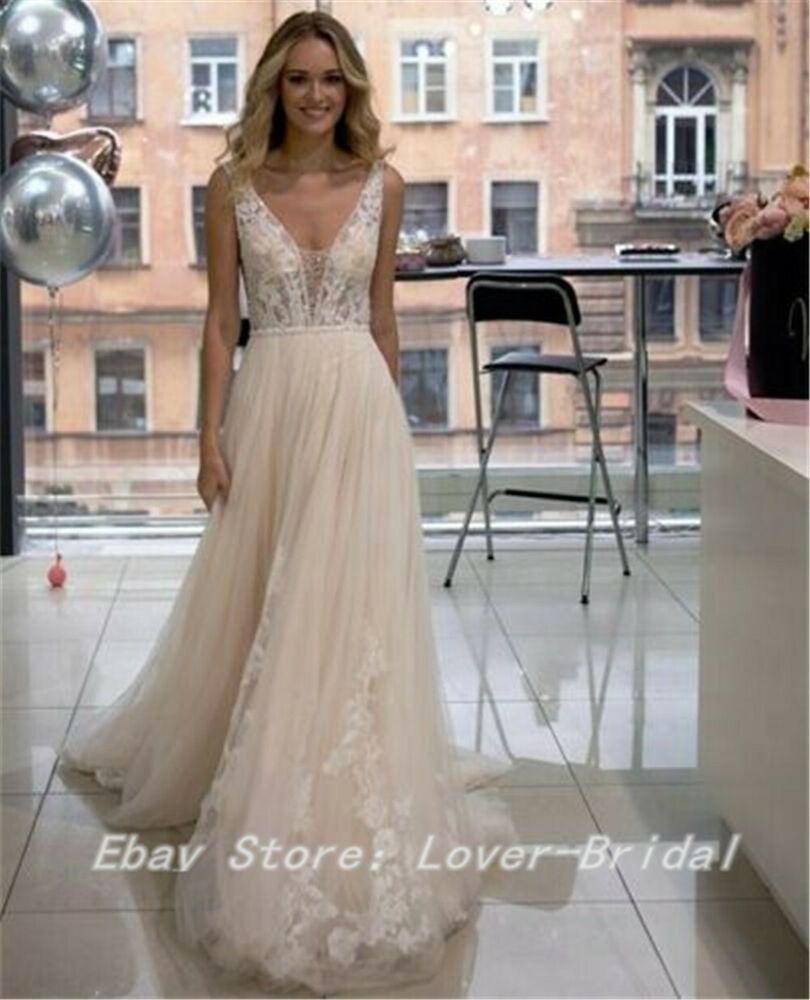 cb52751f3d08 eBay Ad) 2019 A-Line Sexy V-neck Wedding Dresses Applique Bead ...