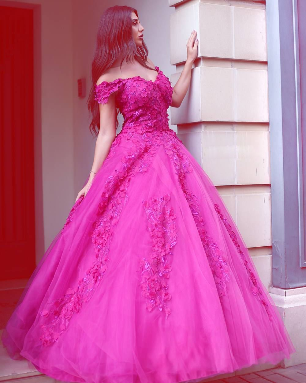 c17db02ba7 Tulle Off Shoulder Ball Gown Prom Dresses with Lace Appliques Long  Quinceanera Dresses Bridal Gowns