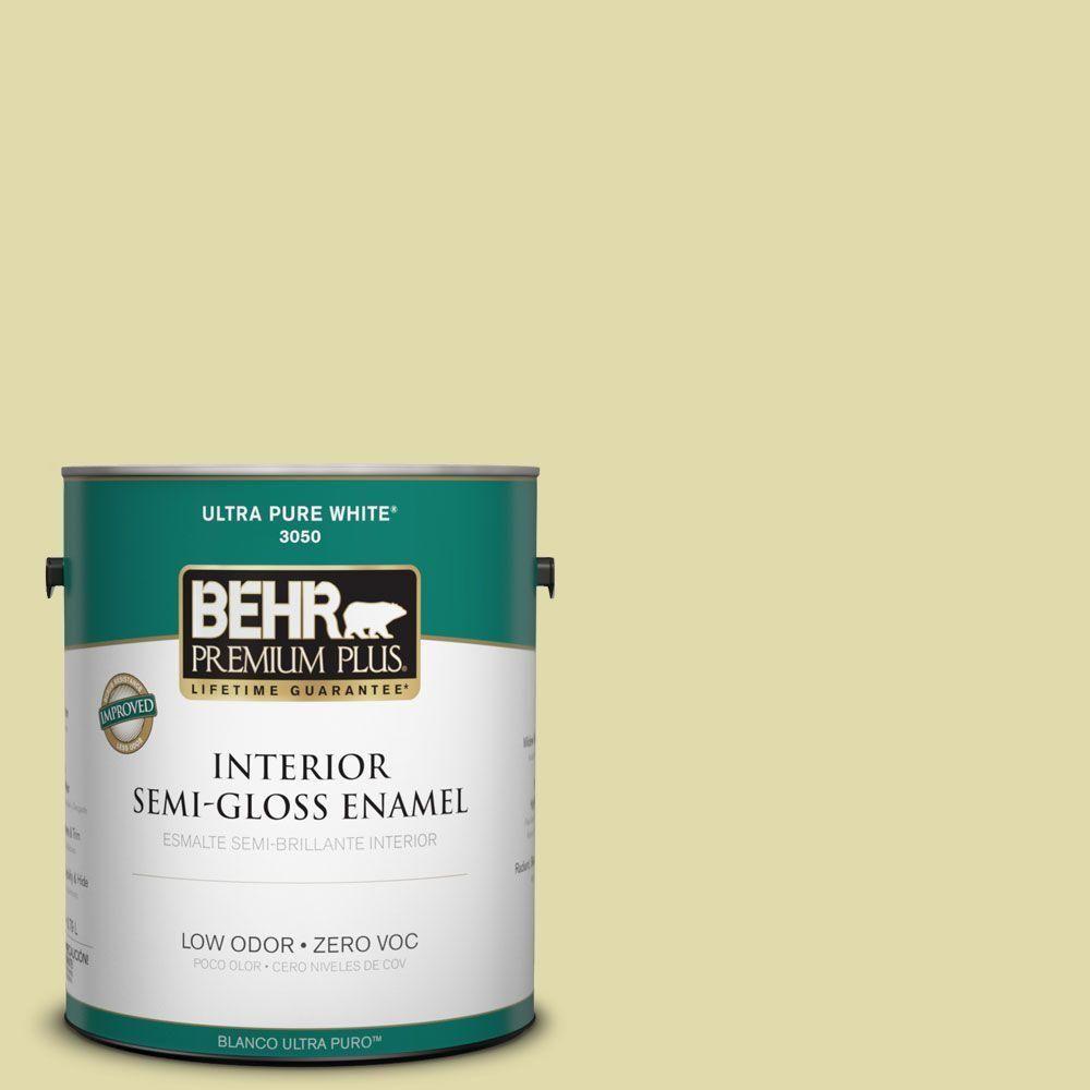 BEHR Premium Plus 1-gal. #400C-3 Dried Palm Zero VOC Semi-Gloss Enamel Interior Paint