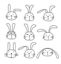 Pattern With Hand Drawn Cute Bunnies And Carrots Vector Image Osterhase Zeichnen Tier Doodles Susser Hase