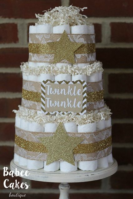 3 Tier Twinkle Twinkle Little Star Diaper Cake Gold Burlap Lace