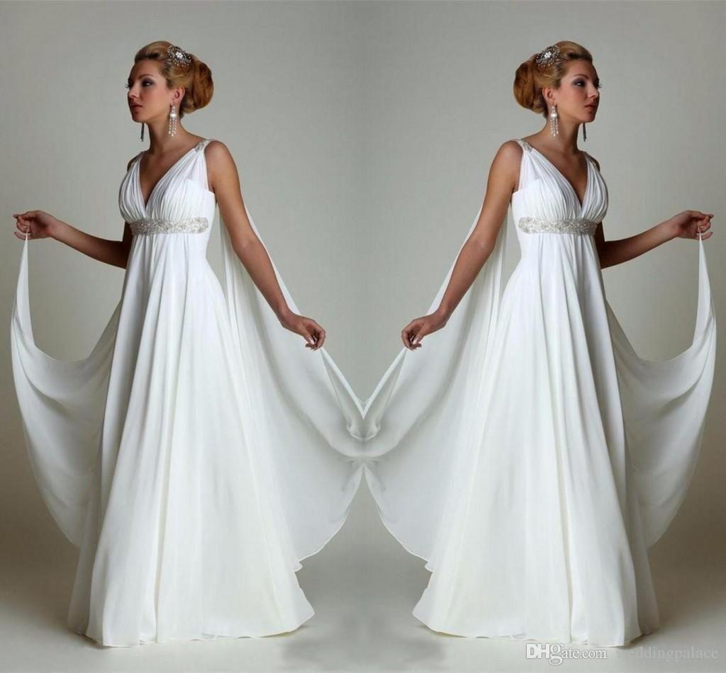 Discountsimple Chiffon Empire Waist Beach Wedding Dresses Greek Modern V Neck Plus Size Bridal Gown Cheap Vestido Wedding Gowns From Weddingpalace 73 87 Dhg Cheap Gowns Wedding Gown A Line Empire Wedding Dress [ 950 x 1024 Pixel ]