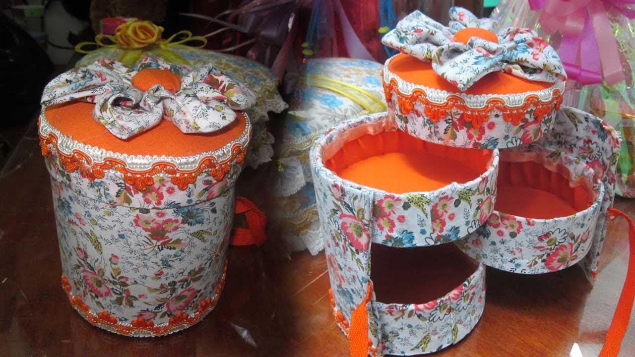 Caja organizadora cilindro 3 en 1 forrada en tela d a de - Regalos para el dia de la madre manualidades ...