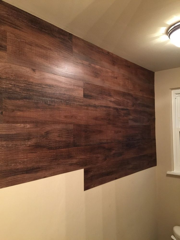 Faux+Wood+Wall Vinyl Planks Glued To The Wall