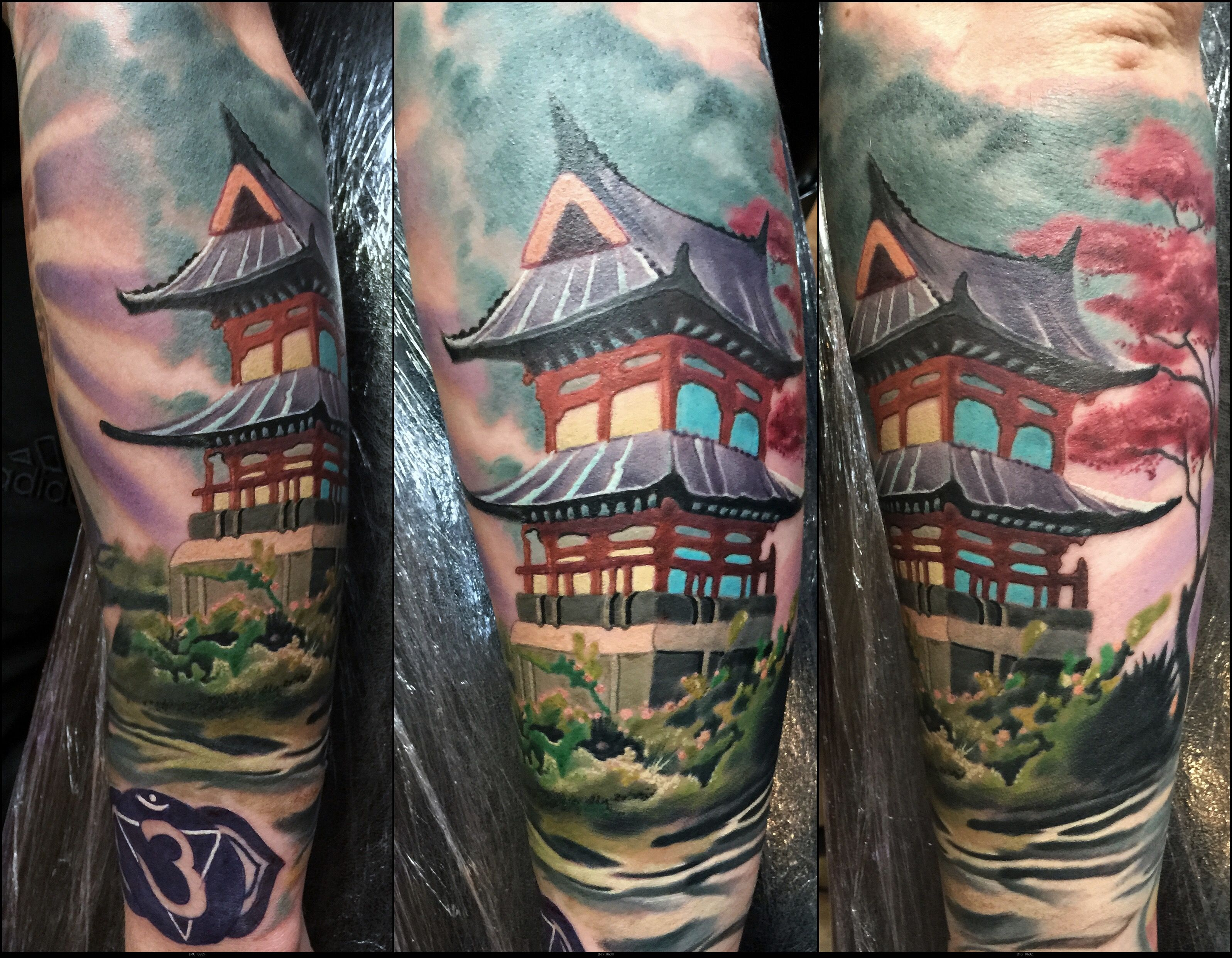 japanese architecture building color sleeve tattoo ink