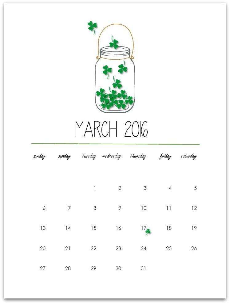 march 2016 free printable calendar page カレンダー pinterest
