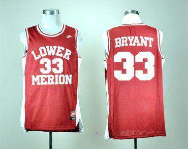 low priced 65fb9 cad39 Nike Lower Merion High School Kobe Bryant 33 Red Basketball ...