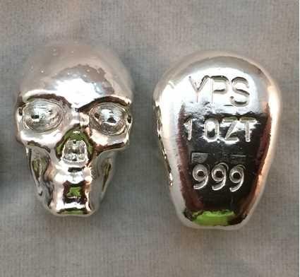 Hand Poured 1 Oz Silver Bar Skull 999 Fine Silver Yps Shinybars Com Skull Hand Silver Bars Silver Bullion
