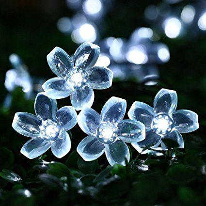 Qedertek Cherry Blossom Solar String Lights, 21 FT 50 LED Waterproof