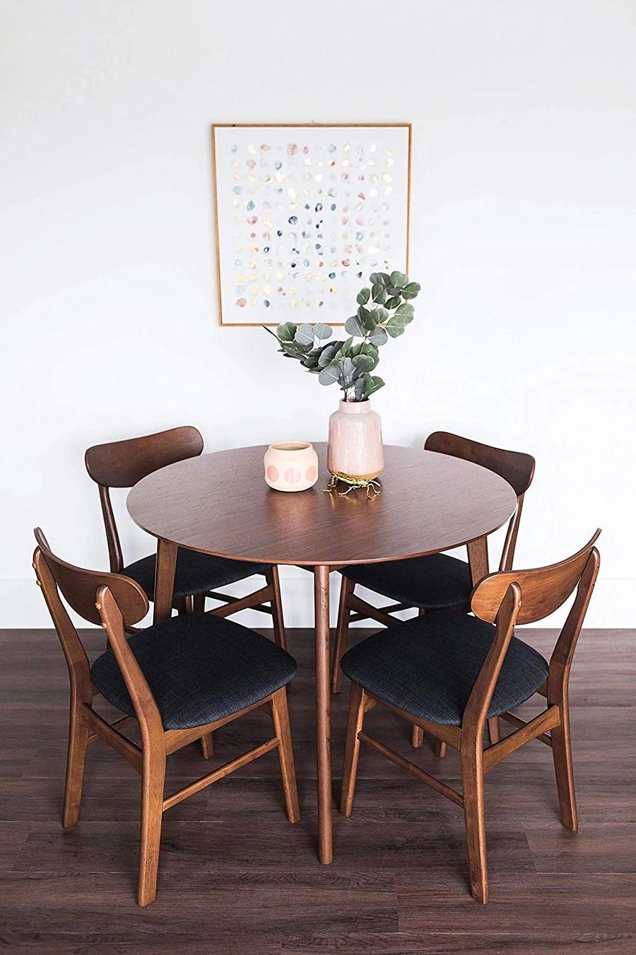 Dakota Dining Table Set Walnut Edloe Finch Furniture Co Round Dining Table Modern Dining Table Small Space Small Dining Sets
