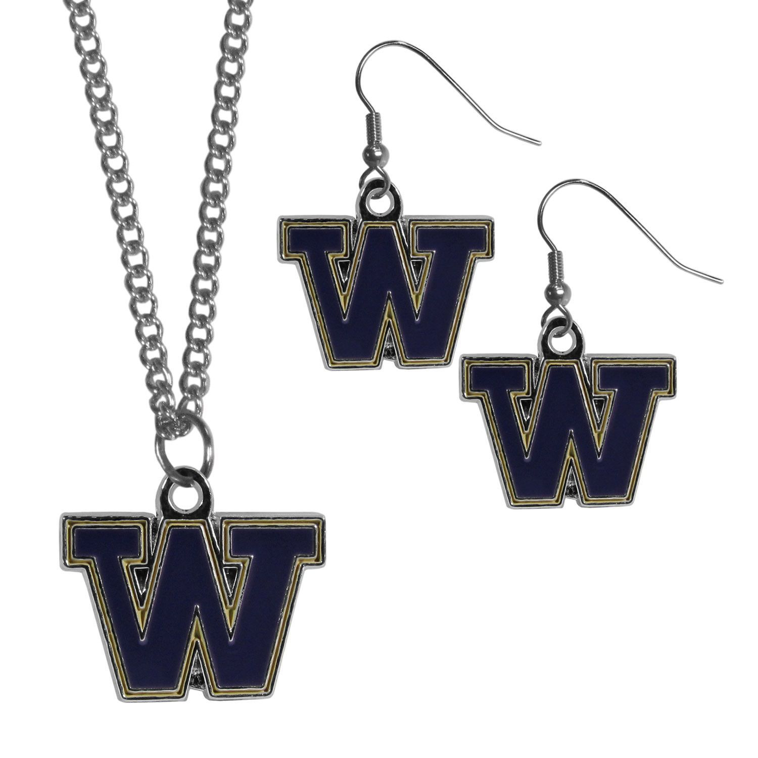 Washington huskies dangle earrings and chain necklace set products