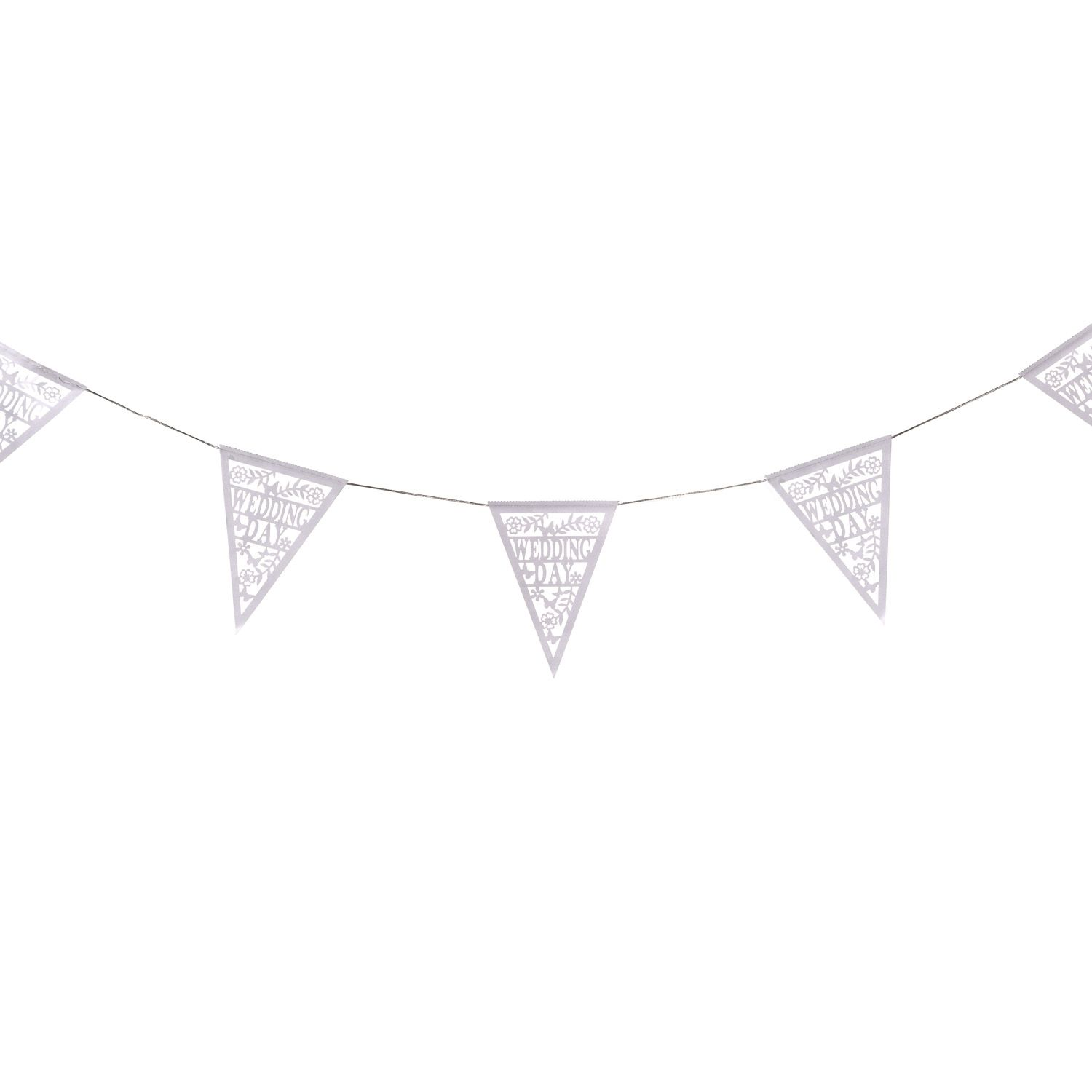 This cut out wedding bunting is the perfect way to decorate your big event as it can be hung wherever you want it. The font alongside numerous images will look stunning placed around your venue. This is a cheap and easy way to add some wedding glamour to your special day without the mess and fuss! Height Width Depth 17cm 23.5cm -cm