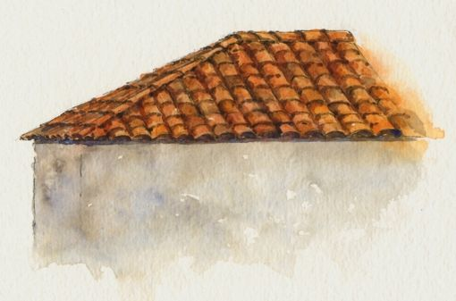 Everyday Artist: Sneak Preview! Step-by-Step Watercolor Painting: Terracotta Tile Roofs