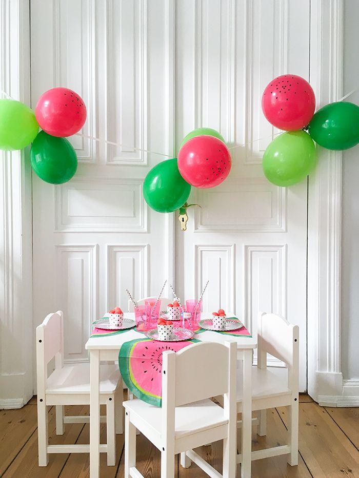 Partydeko im Wassermelonen-Look