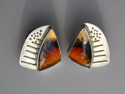 Earrings - set with mocha stone
