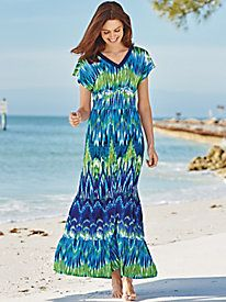 A brilliant print and smooth, stretch knit combine for one fabulous dress ~ Ombre Effect Knit Maxi Dress from Blair