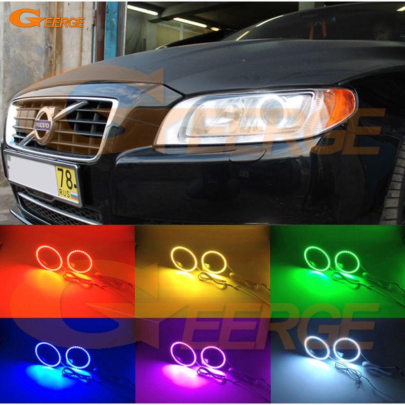 For Volvo S80 2008 2009 2010 2011 2012 2013 2014 2015 2016 Multi Color Ultra Bright Rgb Led Angel Eyes Kit Halo Ring Volvo Volvo V70 Car Lights